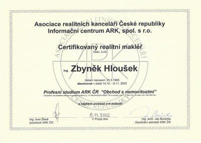 Certifikovaný realitní makléř - profesní studium ARK ČR