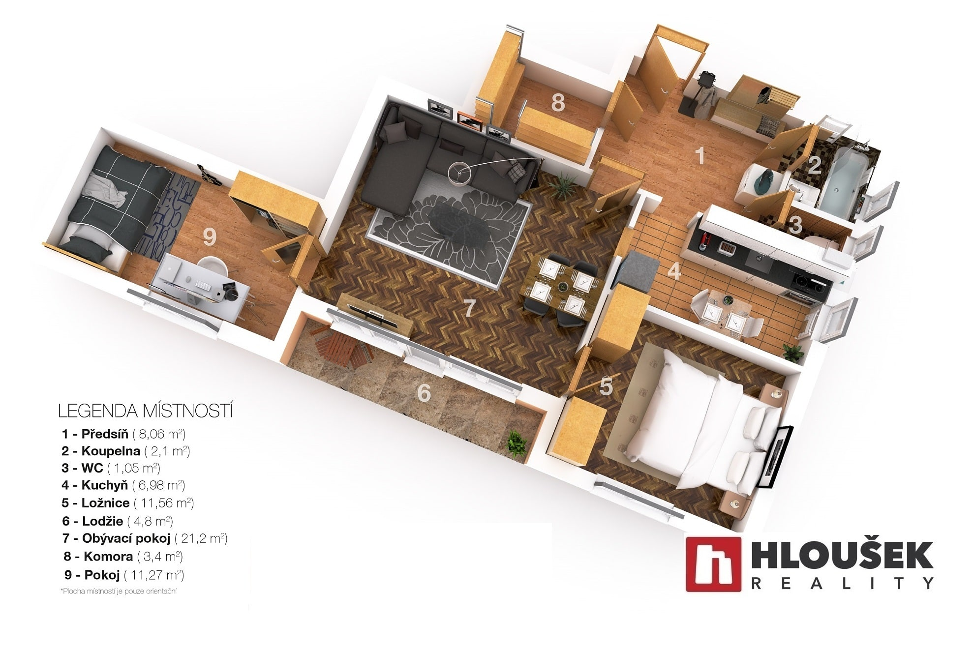 Půdorys - prodej bytu 3+1/L ul. Moskevská