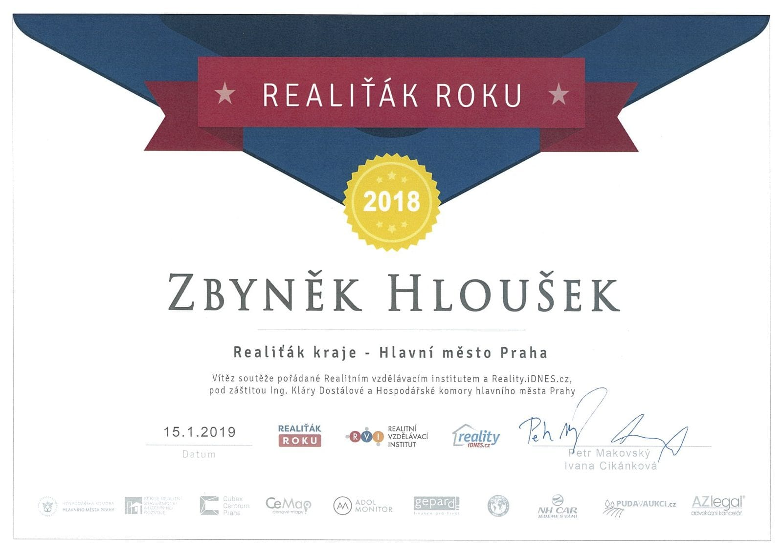 Nejlepší realitní makléř na prodej bytu v Praze - realitní makléř roku Hloušek
