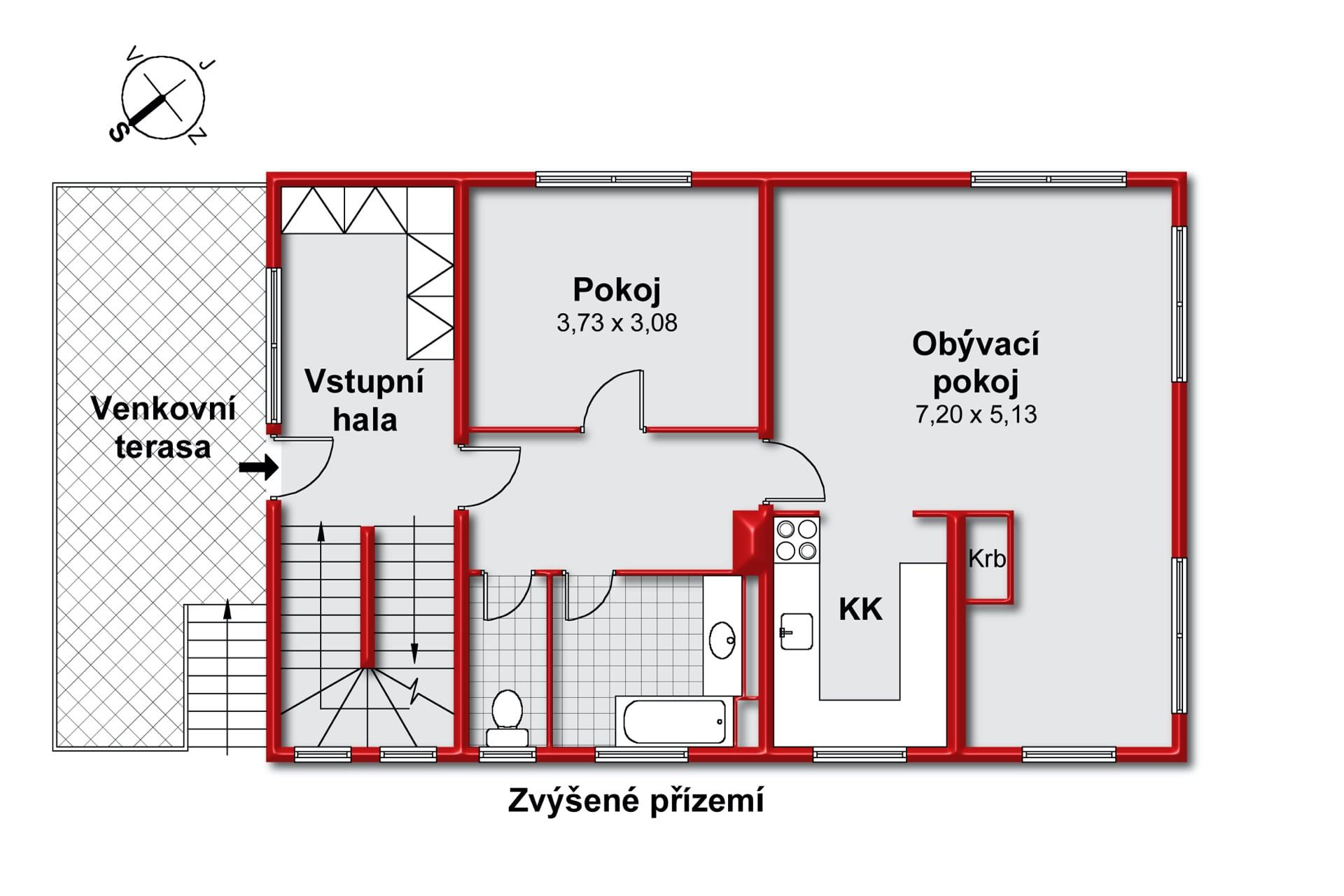 Půdorys domu s velkým pozemkem - Benešovsko