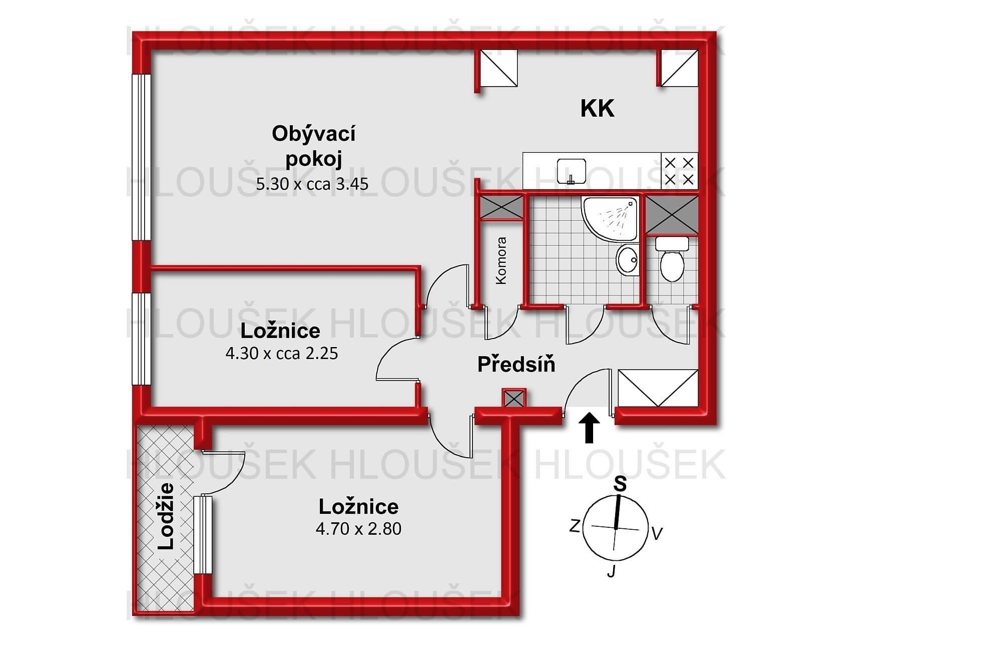 Půdorys bytu 3+kk/L, ul. Křejpského, Praha 4 - Chodov, Jižní Město