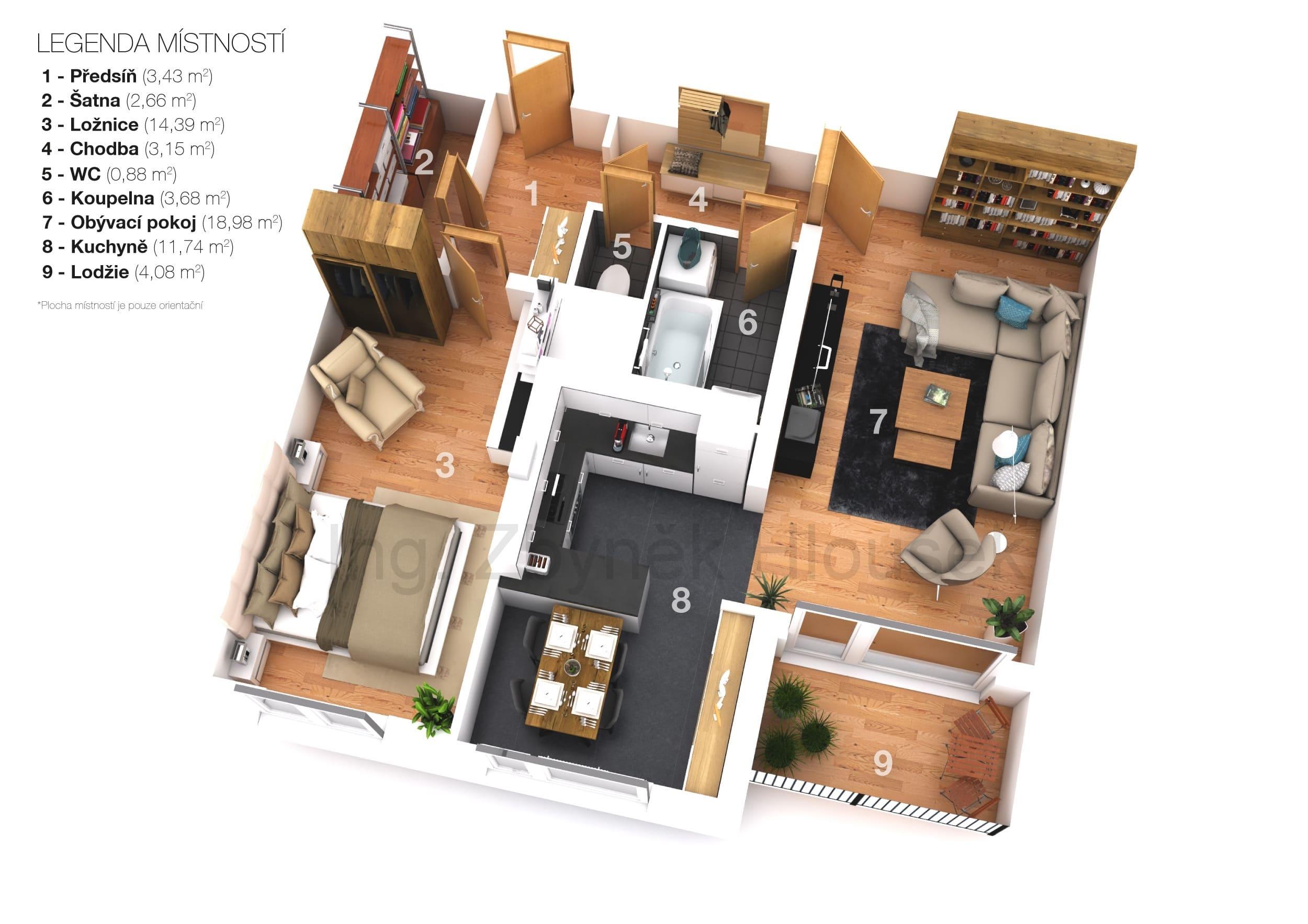 3D půdorys nemovitosti