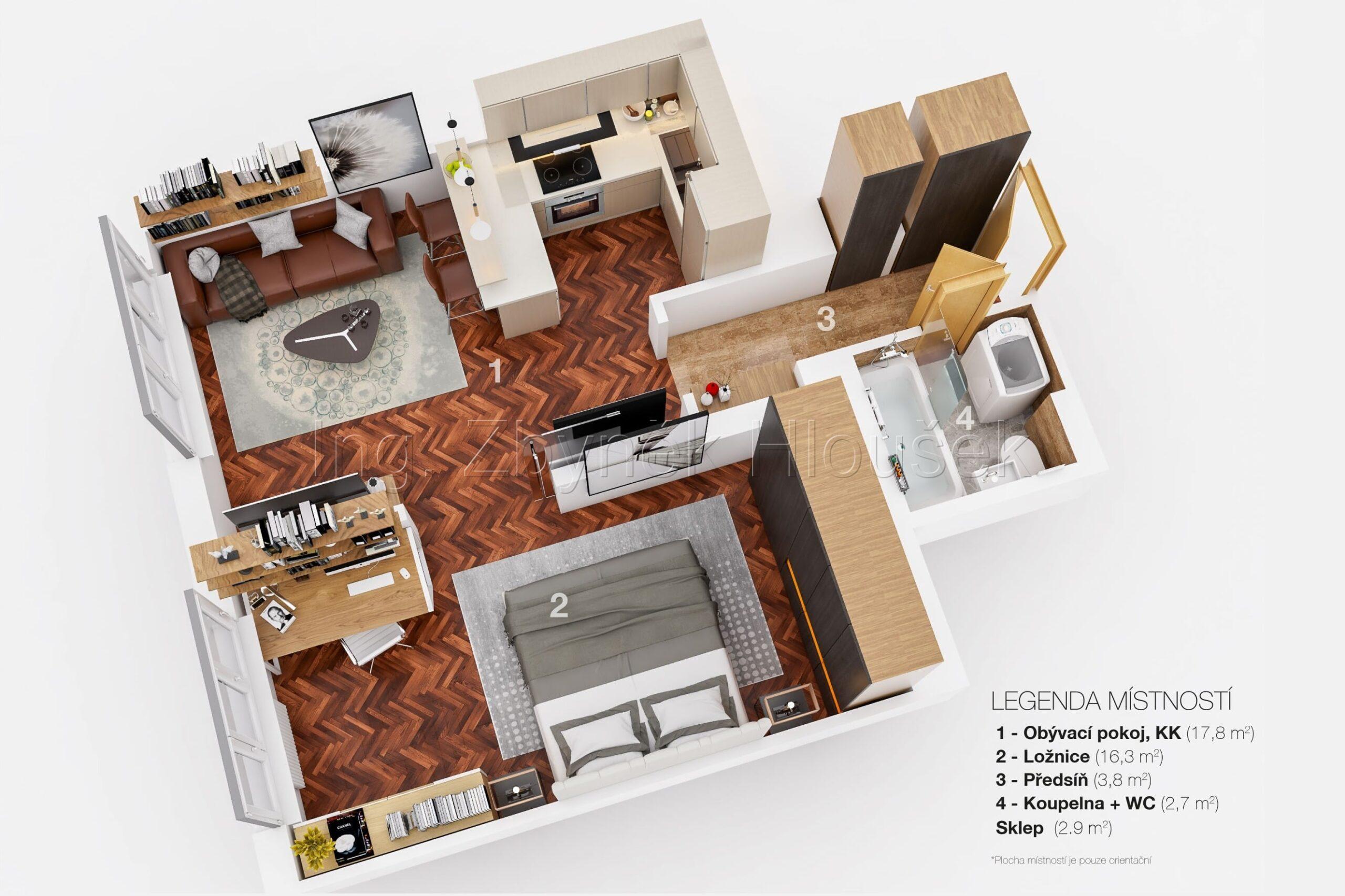 Půdorys - prodej bytu 3+kk ul. Na Formance